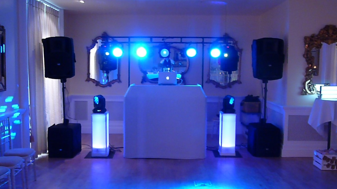 Wedding Disco Set Up at Eshott Hall between Alnwick and Morpeth in Northumberland